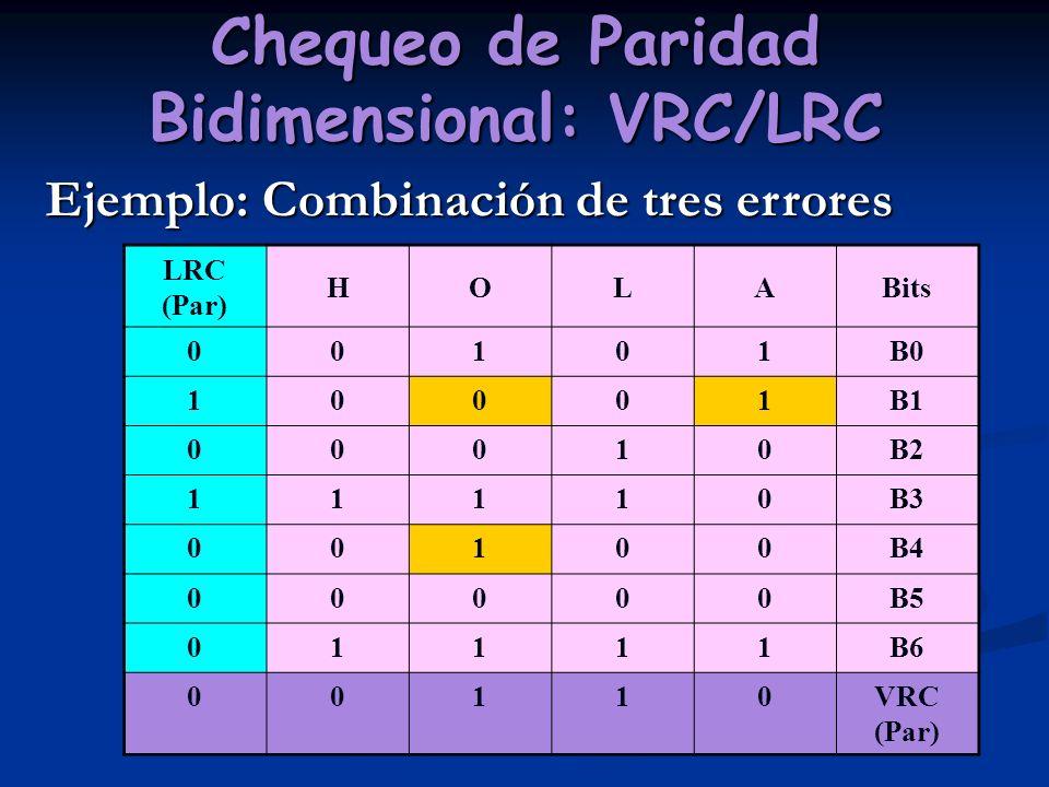 Chequeo de Paridad Bidimensional: VRC/LRC Ejemplo: Combinación de tres errores LRC (Par) HOLABits 00101B0 10001B1 00010B2 11110B3 00100B4 00000B5 0111