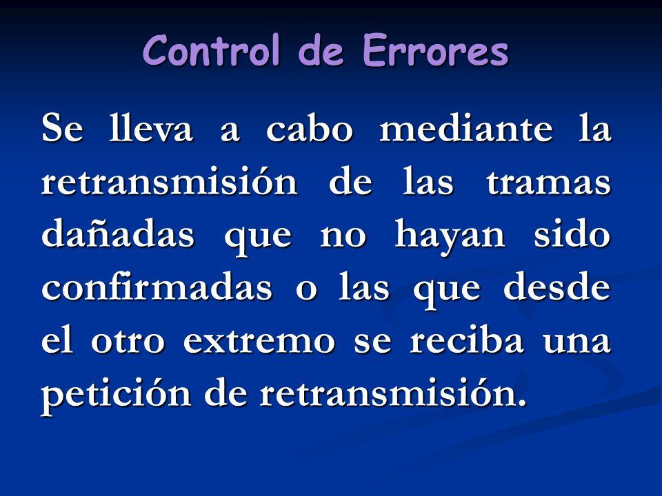 Control de Errores Se lleva a cabo mediante la retransmisión de las tramas dañadas que no hayan sido confirmadas o las que desde el otro extremo se re