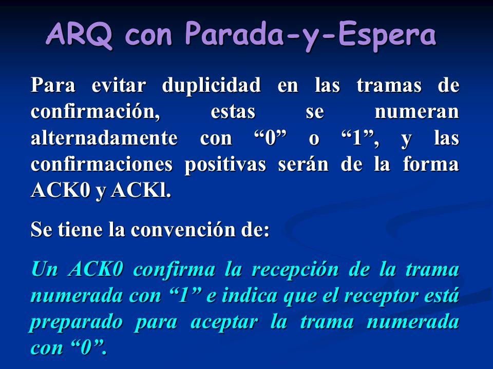 ARQ con Parada-y-Espera Para evitar duplicidad en las tramas de confirmación, estas se numeran alternadamente con 0 o 1, y las confirmaciones positiva