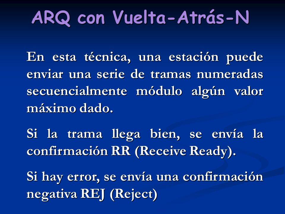 ARQ con Vuelta-Atrás-N En esta técnica, una estación puede enviar una serie de tramas numeradas secuencialmente módulo algún valor máximo dado. Si la