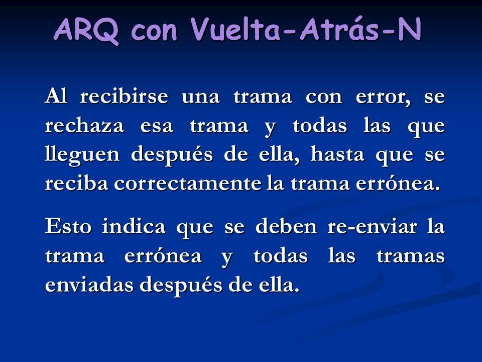ARQ con Vuelta-Atrás-N Al recibirse una trama con error, se rechaza esa trama y todas las que lleguen después de ella, hasta que se reciba correctamen