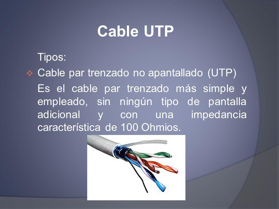 Cable UTP Tipos: Cable par trenzado no apantallado (UTP) Es el cable par trenzado más simple y empleado, sin ningún tipo de pantalla adicional y con u