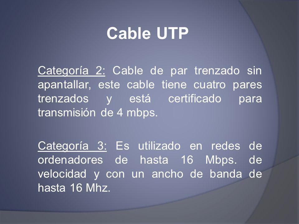 Cable UTP Categoría 2: Cable de par trenzado sin apantallar, este cable tiene cuatro pares trenzados y está certificado para transmisión de 4 mbps. Ca