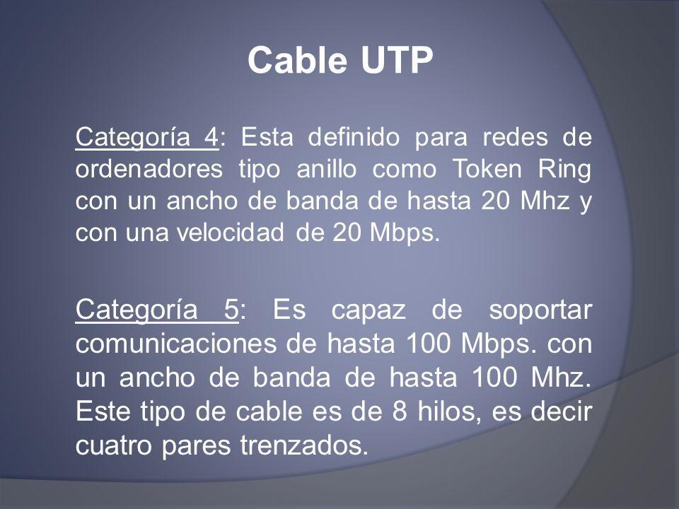 Cable UTP Categoría 4: Esta definido para redes de ordenadores tipo anillo como Token Ring con un ancho de banda de hasta 20 Mhz y con una velocidad d