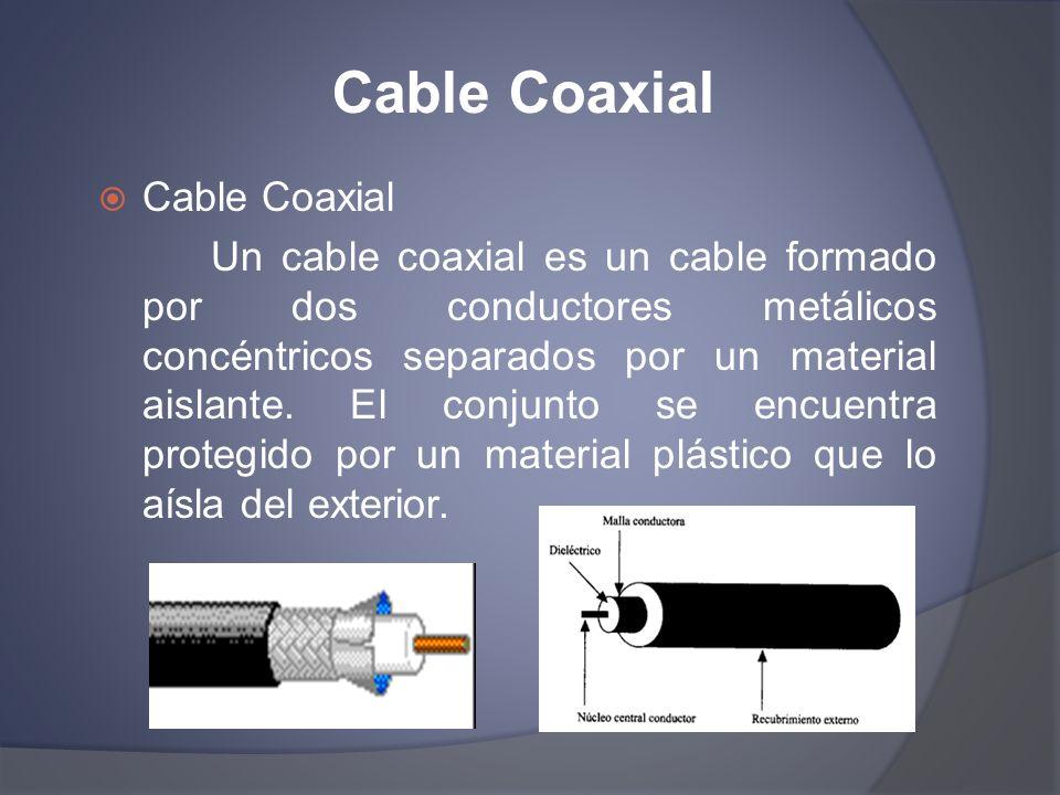 Cable Coaxial Un cable coaxial es un cable formado por dos conductores metálicos concéntricos separados por un material aislante. El conjunto se encue