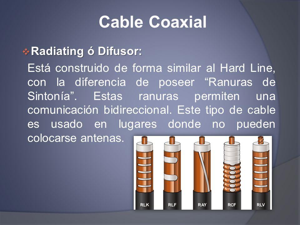 Cable Coaxial Radiating ó Difusor: Radiating ó Difusor: Está construido de forma similar al Hard Line, con la diferencia de poseer Ranuras de Sintonía