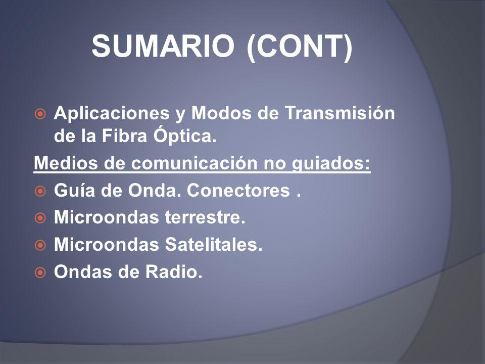 SUMARIO (CONT) Aplicaciones y Modos de Transmisión de la Fibra Óptica. Medios de comunicación no guiados: Guía de Onda. Conectores. Microondas terrest