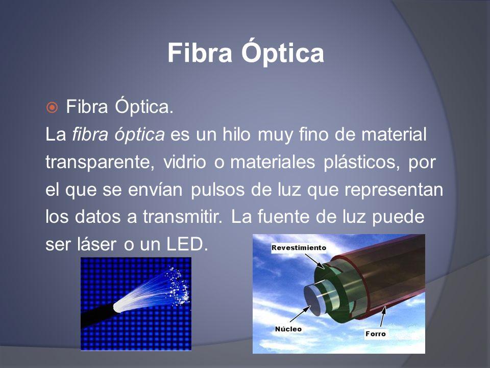 Fibra Óptica Fibra Óptica. La fibra óptica es un hilo muy fino de material transparente, vidrio o materiales plásticos, por el que se envían pulsos de
