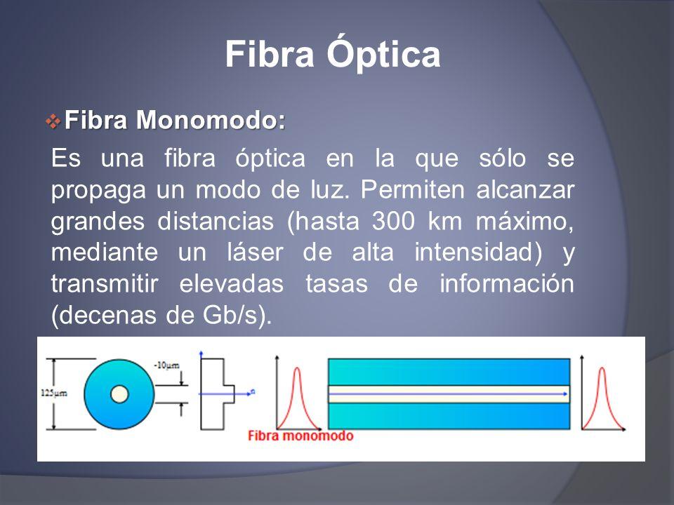 Fibra Óptica Fibra Monomodo: Fibra Monomodo: Es una fibra óptica en la que sólo se propaga un modo de luz. Permiten alcanzar grandes distancias (hasta