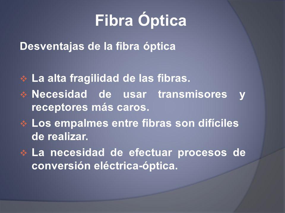 Fibra Óptica Desventajas de la fibra óptica La alta fragilidad de las fibras. Necesidad de usar transmisores y receptores más caros. Los empalmes entr
