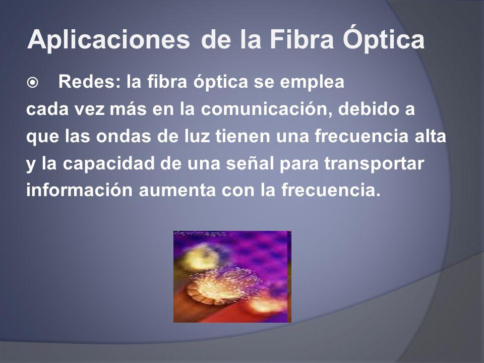 Aplicaciones de la Fibra Óptica Redes: la fibra óptica se emplea cada vez más en la comunicación, debido a que las ondas de luz tienen una frecuencia