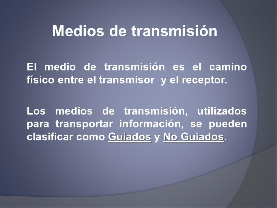 Medios de transmisión El medio de transmisión es el camino físico entre el transmisor y el receptor. GuiadosNo Guiados Los medios de transmisión, util
