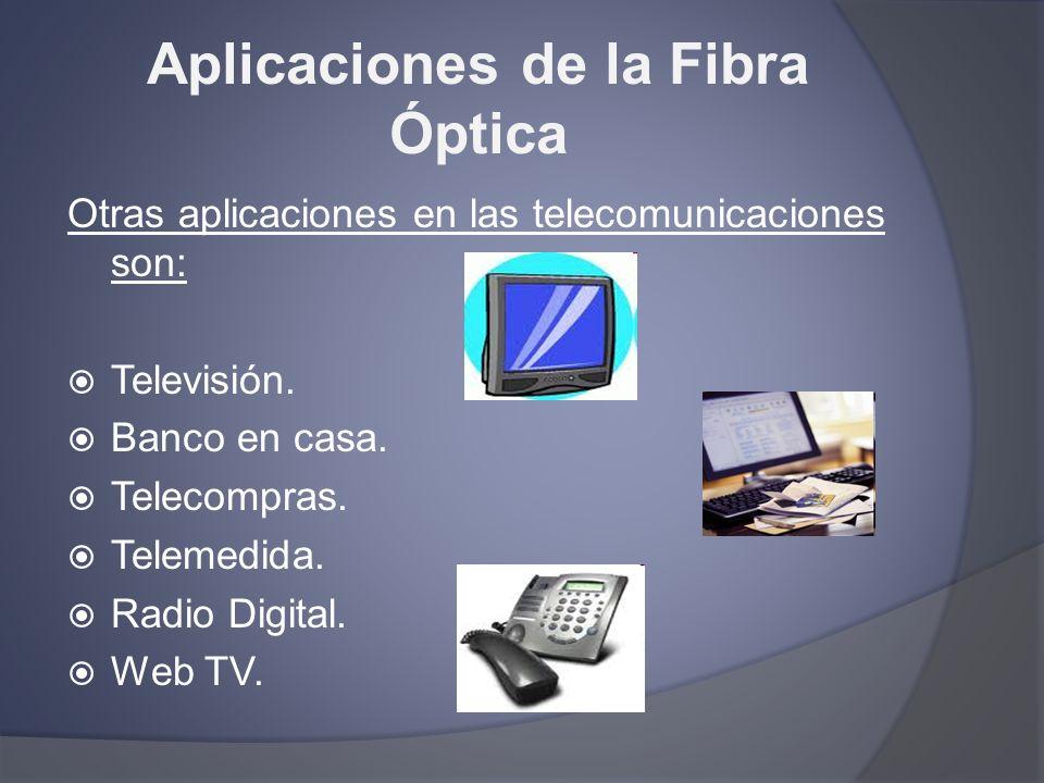 Aplicaciones de la Fibra Óptica Otras aplicaciones en las telecomunicaciones son: Televisión. Banco en casa. Telecompras. Telemedida. Radio Digital. W