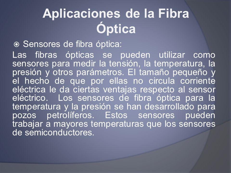 Aplicaciones de la Fibra Óptica Sensores de fibra óptica: Las fibras ópticas se pueden utilizar como sensores para medir la tensión, la temperatura, l