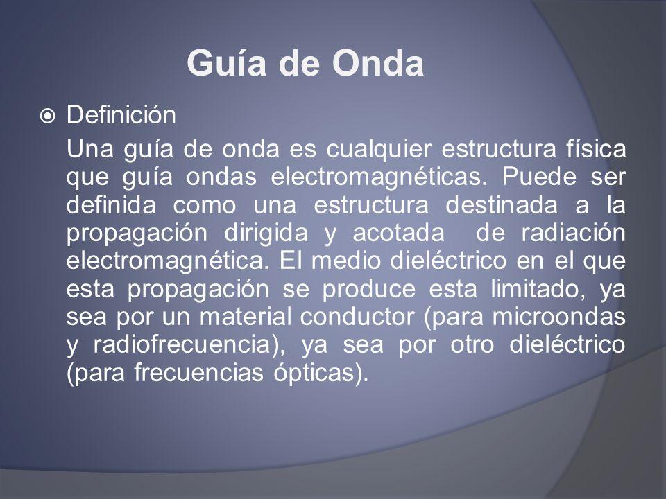 Guía de Onda Definición Una guía de onda es cualquier estructura física que guía ondas electromagnéticas. Puede ser definida como una estructura desti