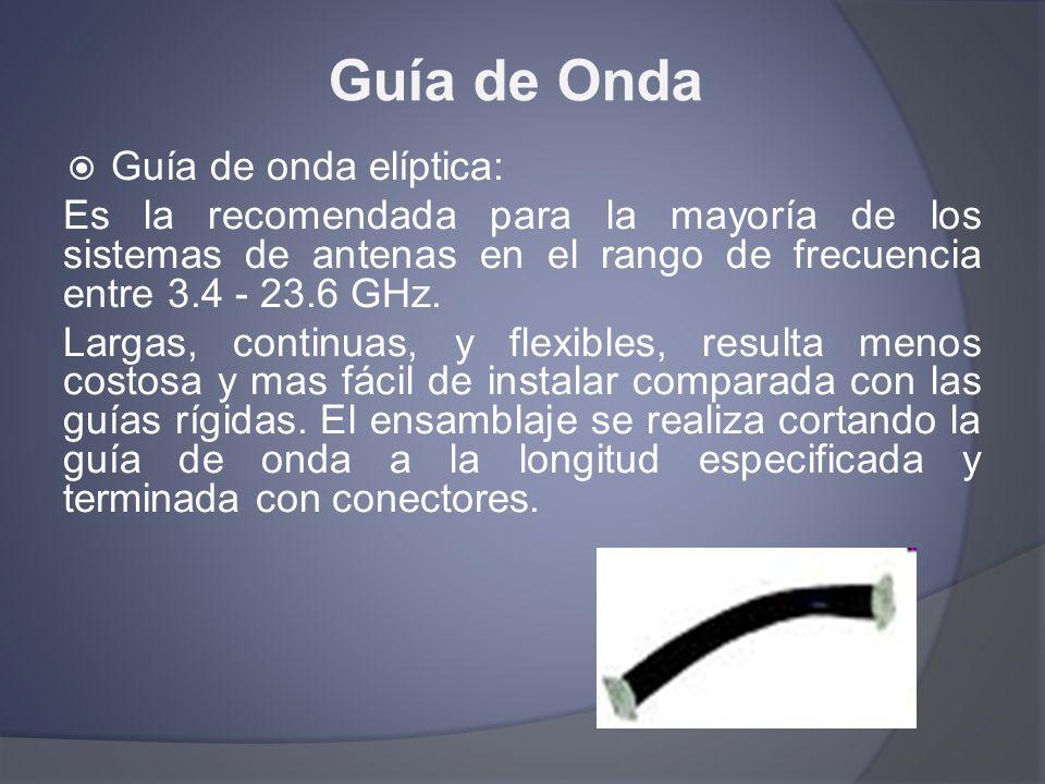 Guía de Onda Guía de onda elíptica: Es la recomendada para la mayoría de los sistemas de antenas en el rango de frecuencia entre 3.4 - 23.6 GHz. Larga