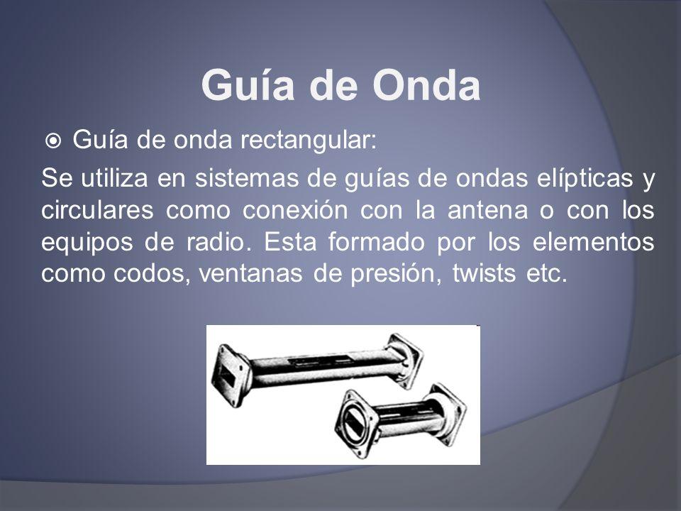 Guía de Onda Guía de onda rectangular: Se utiliza en sistemas de guías de ondas elípticas y circulares como conexión con la antena o con los equipos d