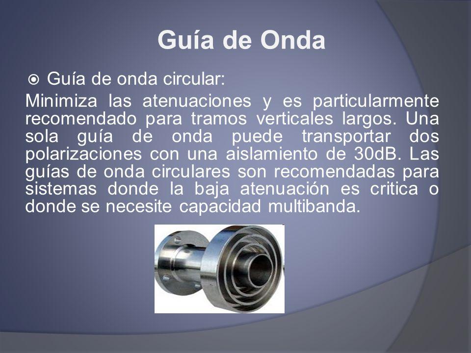 Guía de Onda Guía de onda circular: Minimiza las atenuaciones y es particularmente recomendado para tramos verticales largos. Una sola guía de onda pu