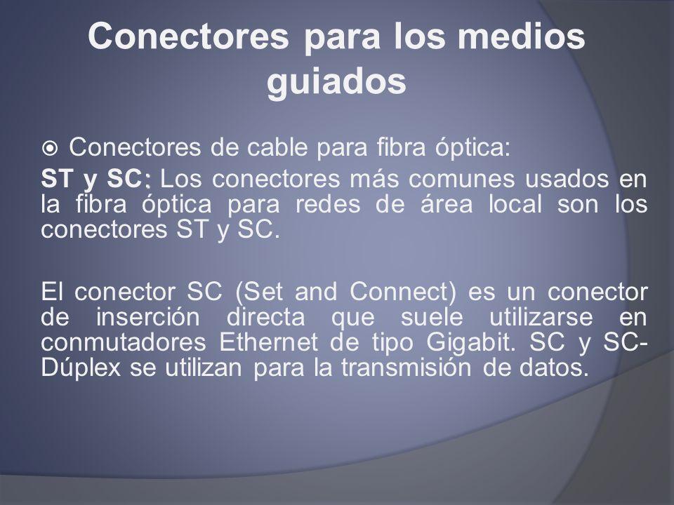 Conectores para los medios guiados Conectores de cable para fibra óptica: : ST y SC: Los conectores más comunes usados en la fibra óptica para redes d