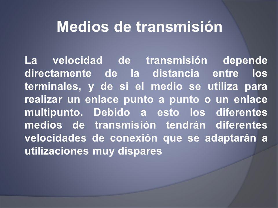 Medios de transmisión La velocidad de transmisión depende directamente de la distancia entre los terminales, y de si el medio se utiliza para realizar