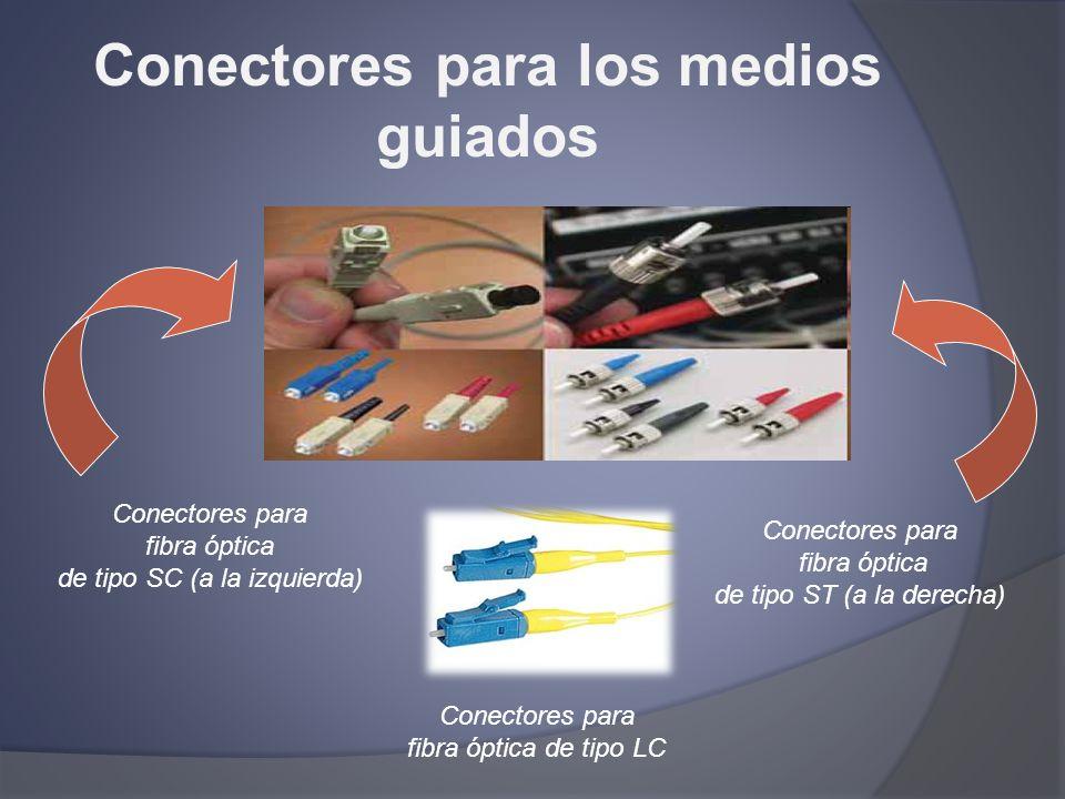 Conectores para los medios guiados Conectores para fibra óptica de tipo SC (a la izquierda) Conectores para fibra óptica de tipo ST (a la derecha) Con