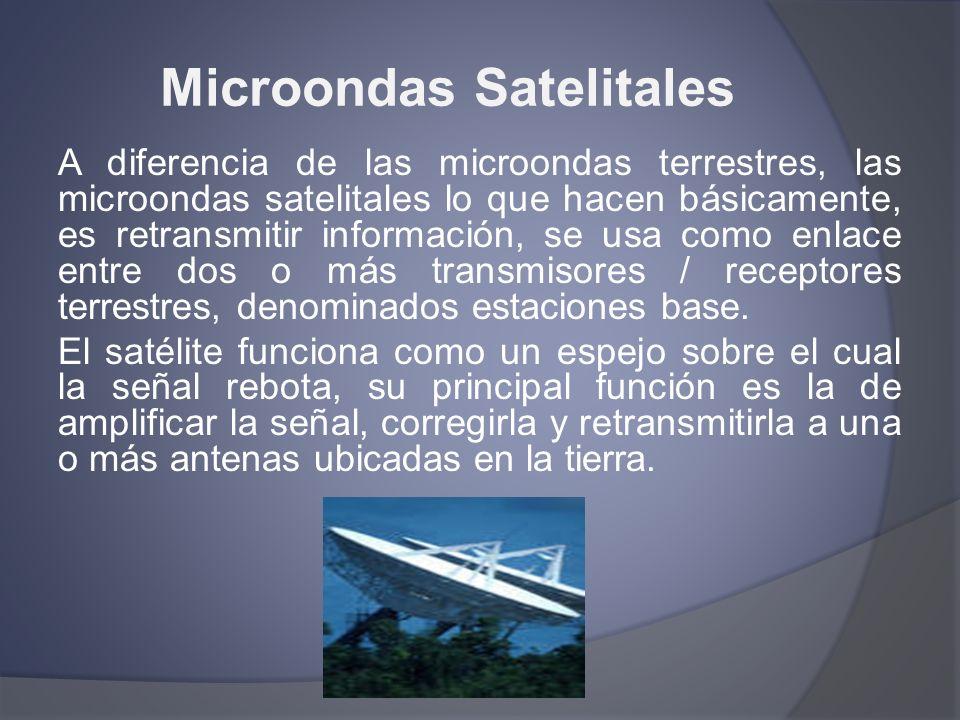Microondas Satelitales A diferencia de las microondas terrestres, las microondas satelitales lo que hacen básicamente, es retransmitir información, se