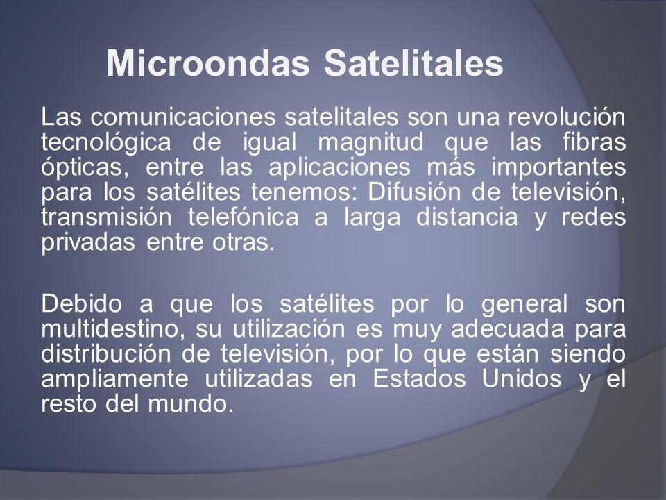 Microondas Satelitales Las comunicaciones satelitales son una revolución tecnológica de igual magnitud que las fibras ópticas, entre las aplicaciones