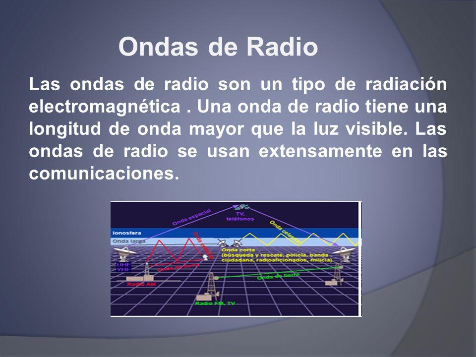 Ondas de Radio Las ondas de radio son un tipo de radiación electromagnética. Una onda de radio tiene una longitud de onda mayor que la luz visible. La