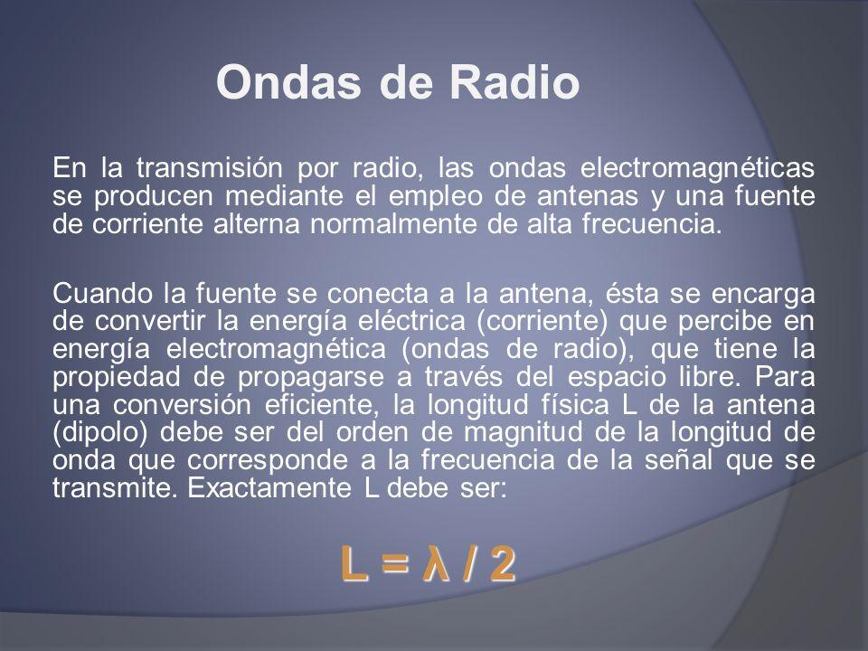Ondas de Radio En la transmisión por radio, las ondas electromagnéticas se producen mediante el empleo de antenas y una fuente de corriente alterna no