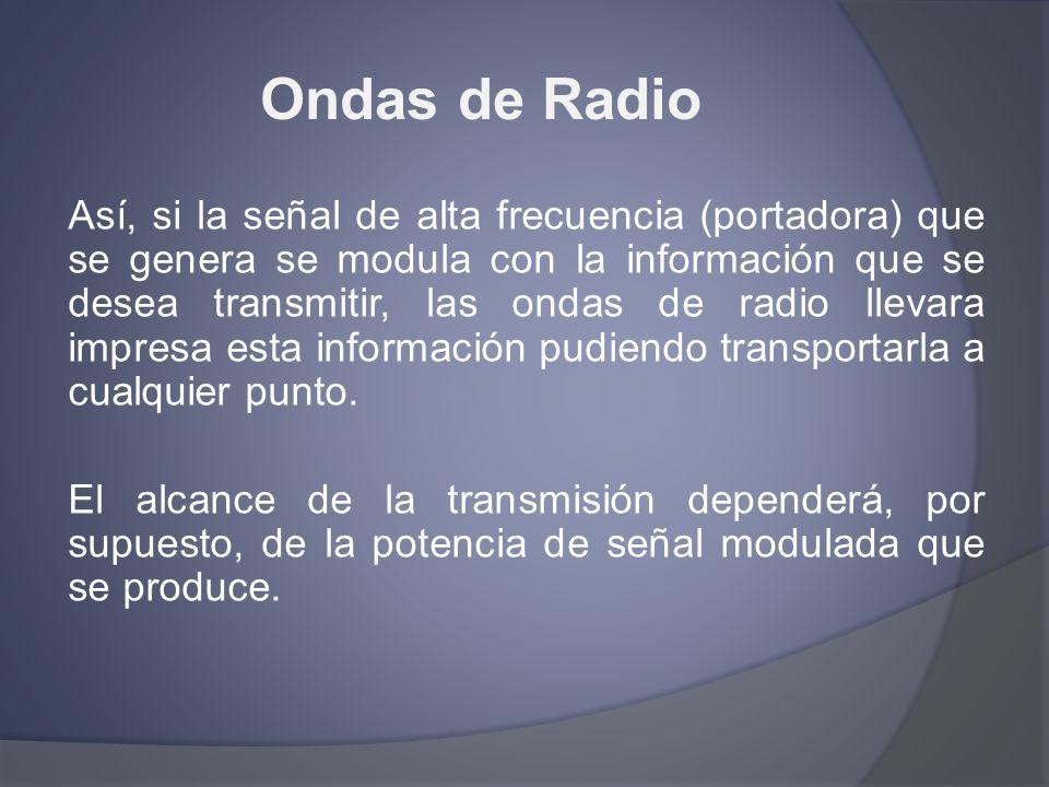 Ondas de Radio Así, si la señal de alta frecuencia (portadora) que se genera se modula con la información que se desea transmitir, las ondas de radio