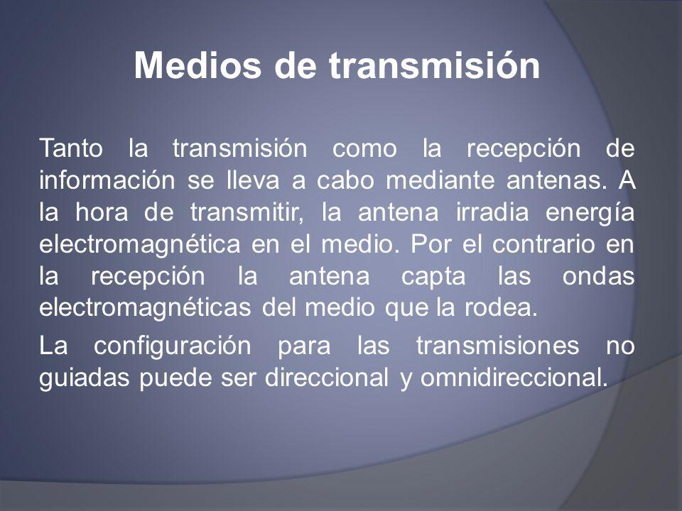 Medios de transmisión Tanto la transmisión como la recepción de información se lleva a cabo mediante antenas. A la hora de transmitir, la antena irrad