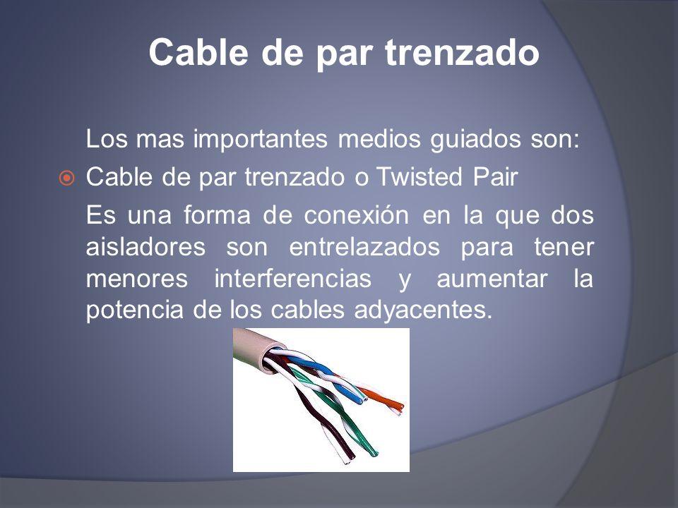 Cable UTP Tipos: Cable par trenzado no apantallado (UTP) Es el cable par trenzado más simple y empleado, sin ningún tipo de pantalla adicional y con una impedancia característica de 100 Ohmios.