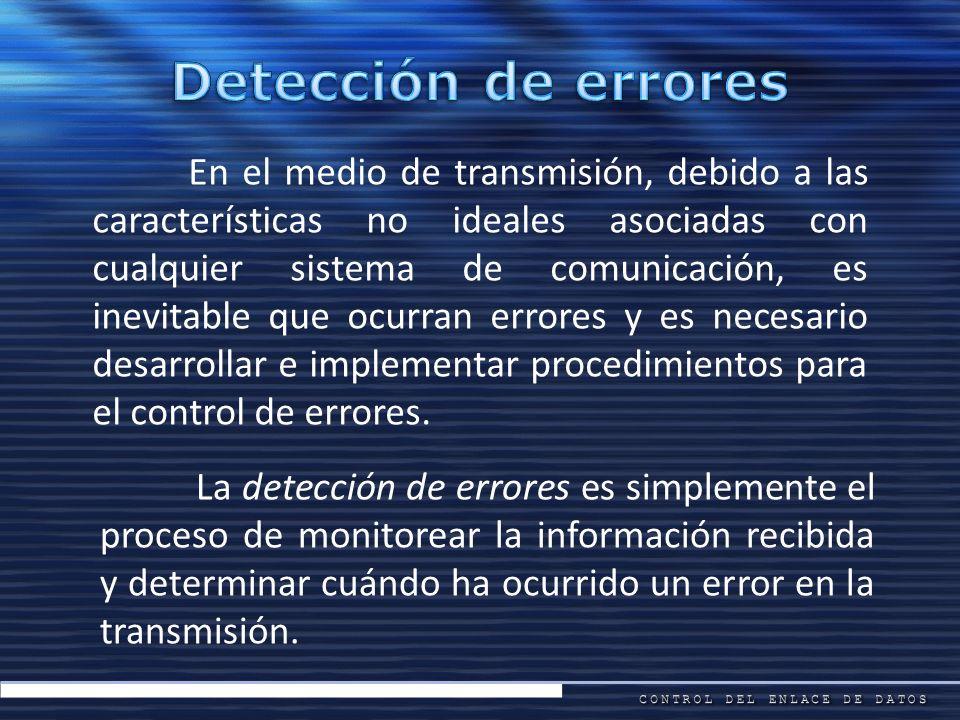 En el medio de transmisión, debido a las características no ideales asociadas con cualquier sistema de comunicación, es inevitable que ocurran errores