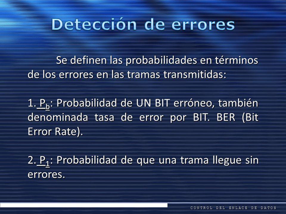 Se definen las probabilidades en términos de los errores en las tramas transmitidas: 1. P b : Probabilidad de UN BIT erróneo, también denominada tasa
