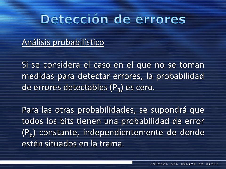 Análisis probabilístico Si se considera el caso en el que no se toman medidas para detectar errores, la probabilidad de errores detectables (P 3 ) es