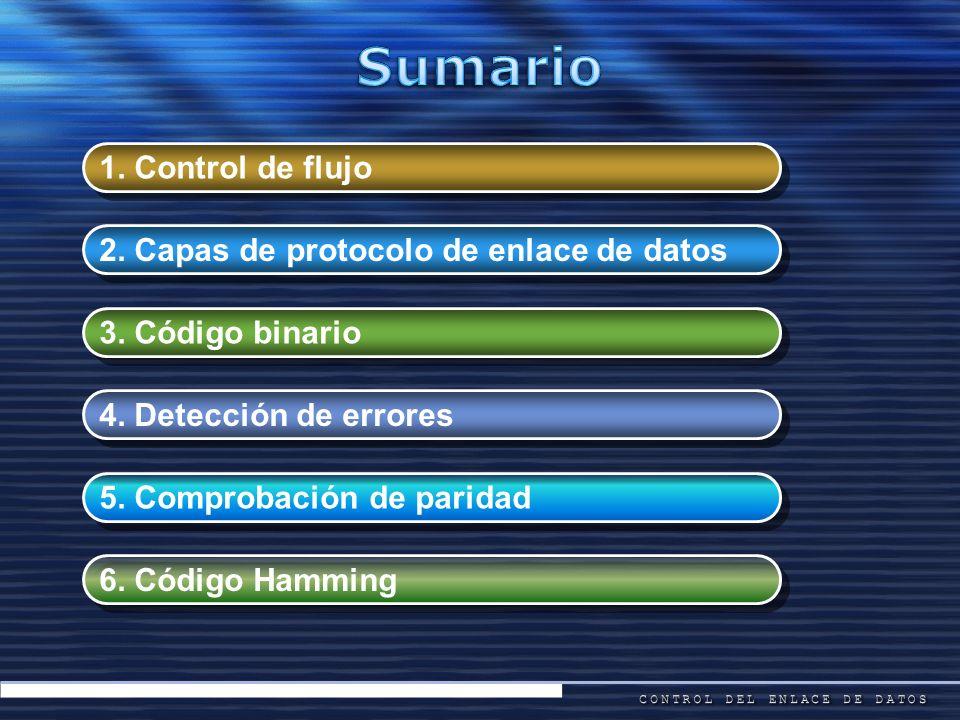 1. Control de flujo 2. Capas de protocolo de enlace de datos 3. Código binario 5. Comprobación de paridad 6. Código Hamming 4. Detección de errores