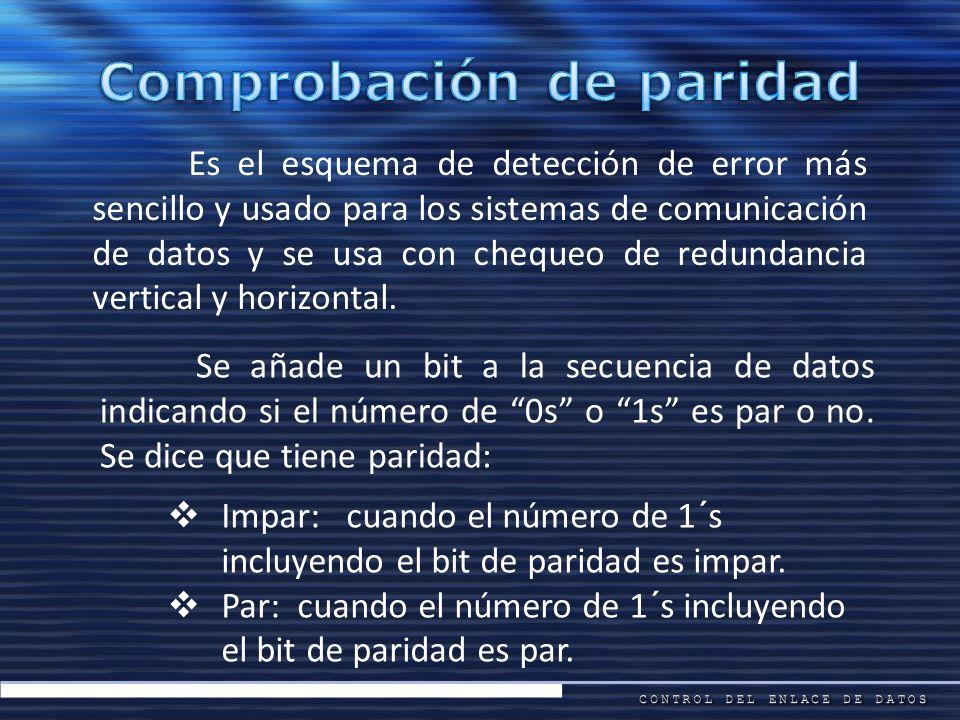 Es el esquema de detección de error más sencillo y usado para los sistemas de comunicación de datos y se usa con chequeo de redundancia vertical y hor