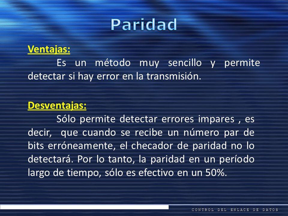 Ventajas: Es un método muy sencillo y permite detectar si hay error en la transmisión. Desventajas: Sólo permite detectar errores impares, es decir, q