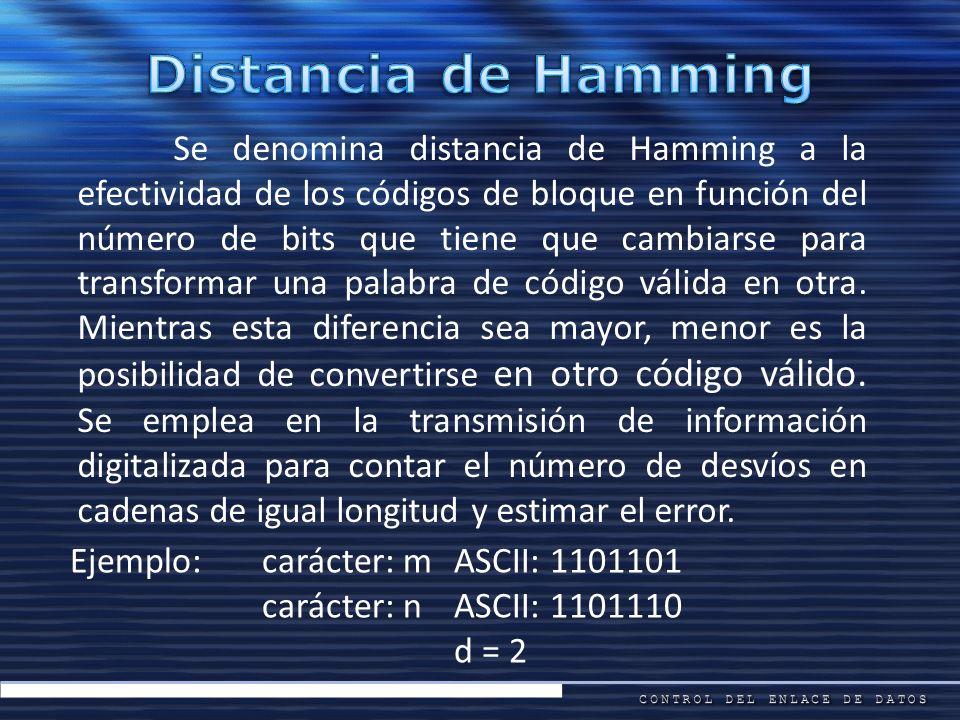 Se denomina distancia de Hamming a la efectividad de los códigos de bloque en función del número de bits que tiene que cambiarse para transformar una