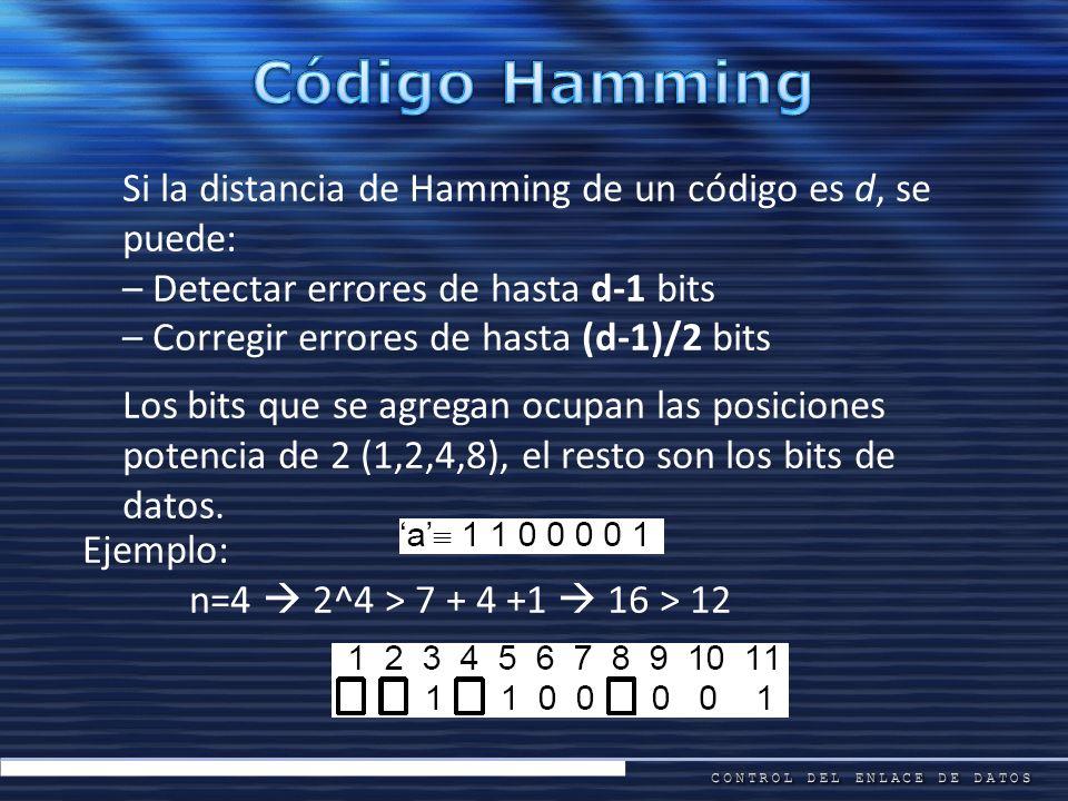 Si la distancia de Hamming de un código es d, se puede: – Detectar errores de hasta d-1 bits – Corregir errores de hasta (d-1)/2 bits Los bits que se