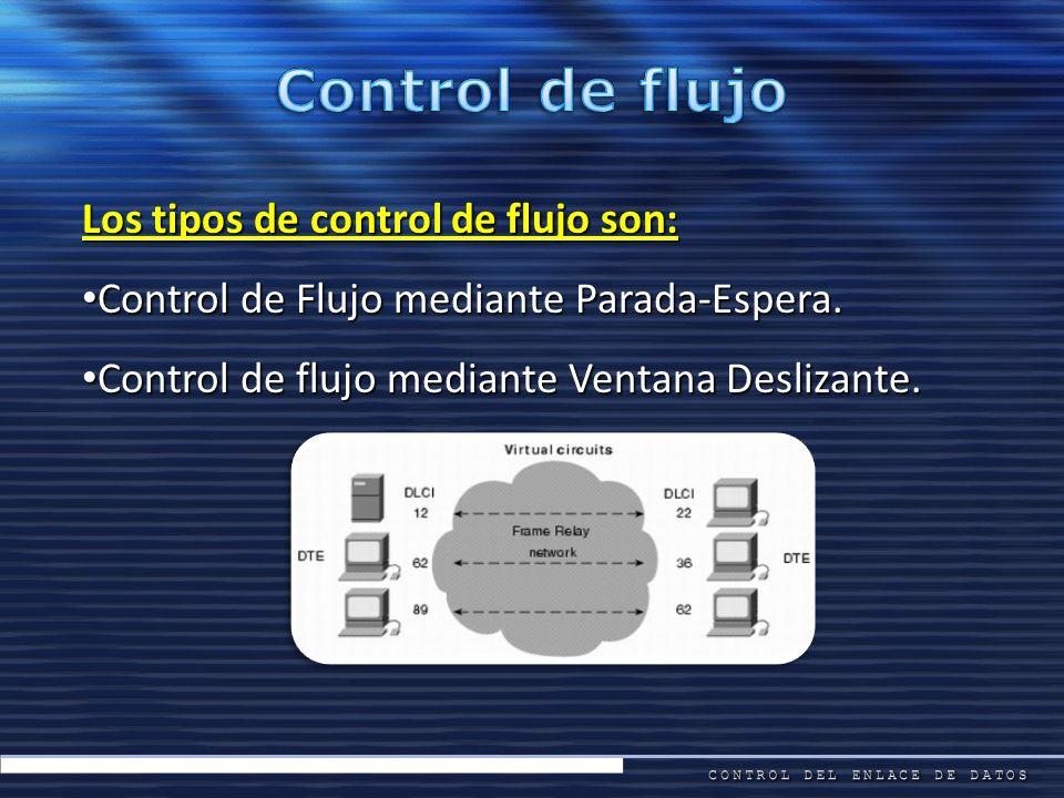 Los tipos de control de flujo son: Control de Flujo mediante Parada-Espera. Control de Flujo mediante Parada-Espera. Control de flujo mediante Ventana