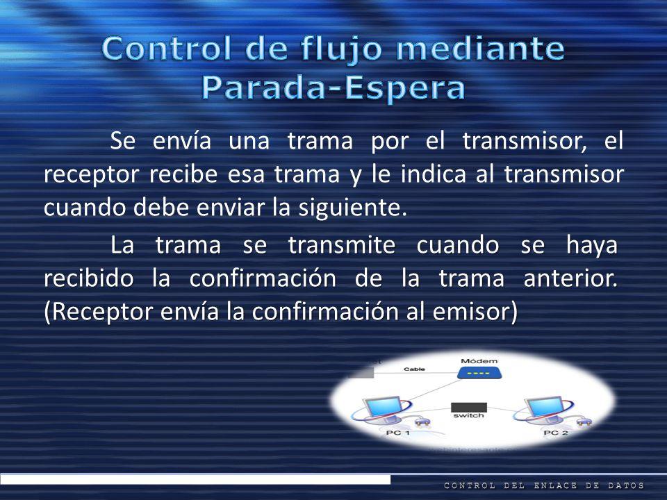 Se envía una trama por el transmisor, el receptor recibe esa trama y le indica al transmisor cuando debe enviar la siguiente. La trama se transmite cu