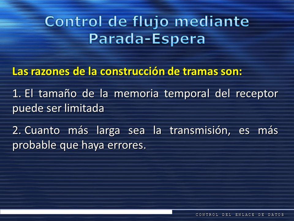 Las razones de la construcción de tramas son: 1. El tamaño de la memoria temporal del receptor puede ser limitada 2. Cuanto más larga sea la transmisi