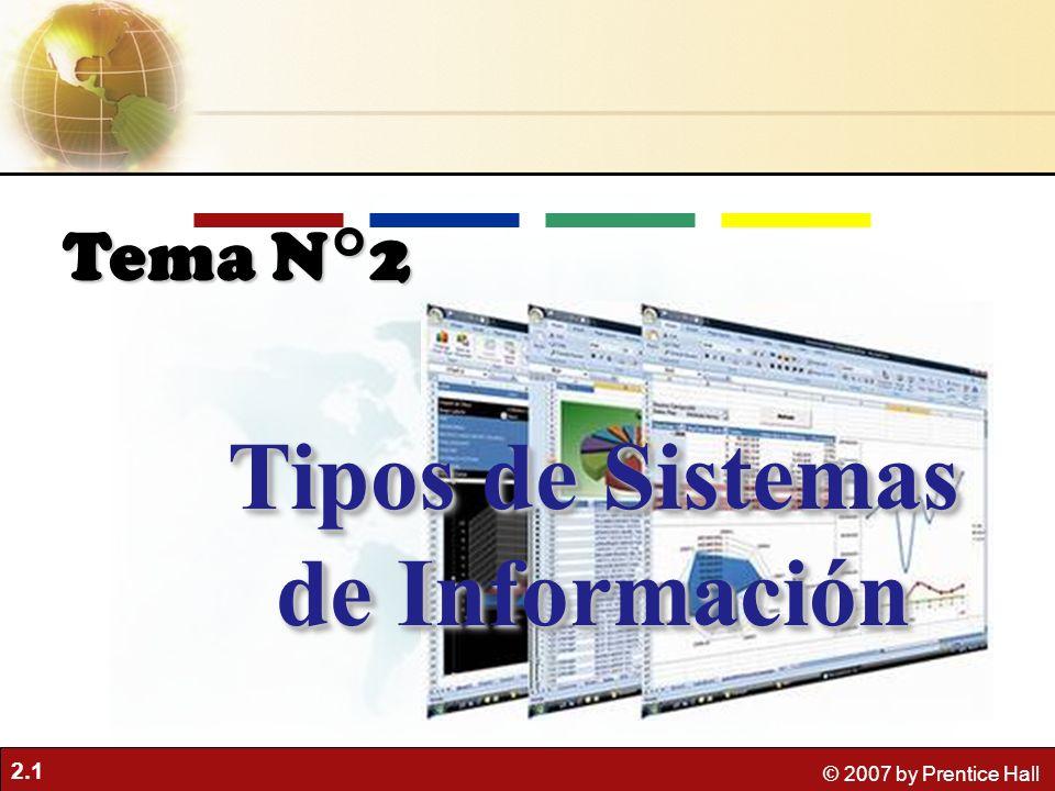 2.1 © 2007 by Prentice Hall Tipos de Sistemas de Información Tema N°2