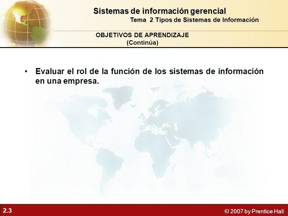 2.3 © 2007 by Prentice Hall Evaluar el rol de la función de los sistemas de información en una empresa.