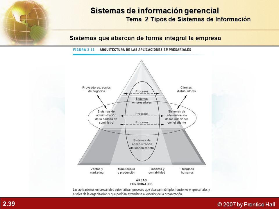 2.39 © 2007 by Prentice Hall Sistemas que abarcan de forma integral la empresa Sistemas de información gerencial Tema 2 Tipos de Sistemas de Información