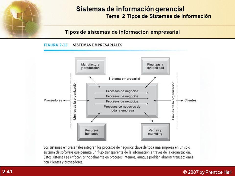 2.41 © 2007 by Prentice Hall Tipos de sistemas de información empresarial Sistemas de información gerencial Tema 2 Tipos de Sistemas de Información