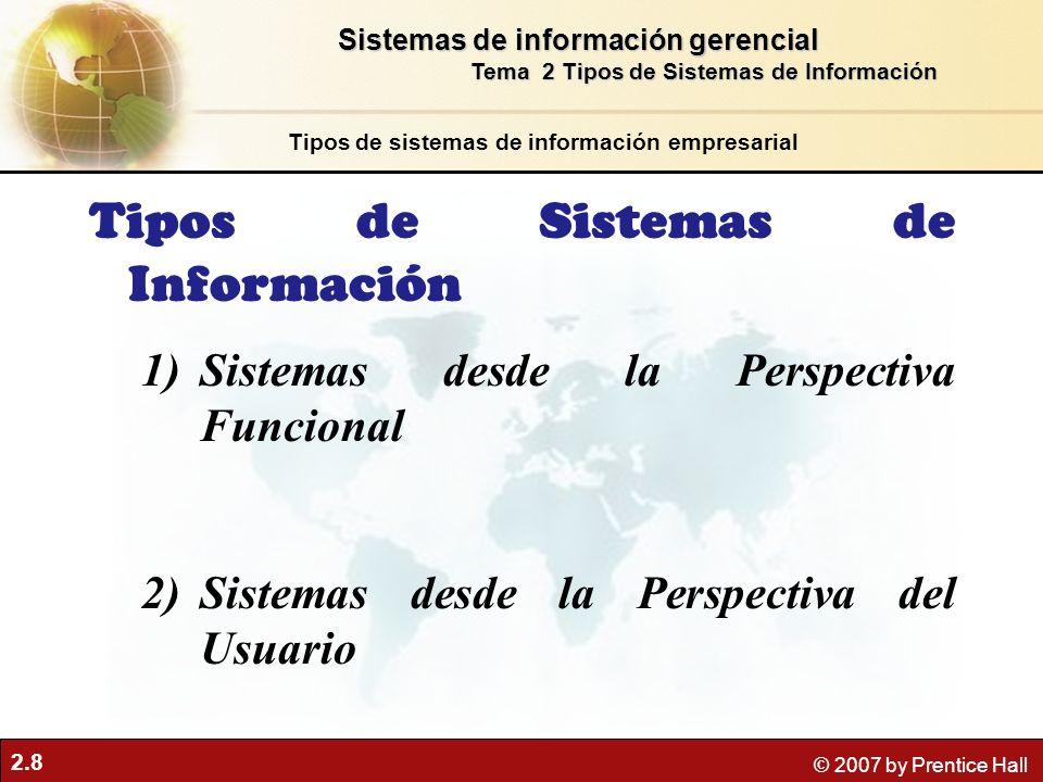 2.8 © 2007 by Prentice Hall Tipos de Sistemas de Información 1)Sistemas desde la Perspectiva Funcional 2)Sistemas desde la Perspectiva del Usuario Tipos de sistemas de información empresarial Sistemas de información gerencial Tema 2 Tipos de Sistemas de Información