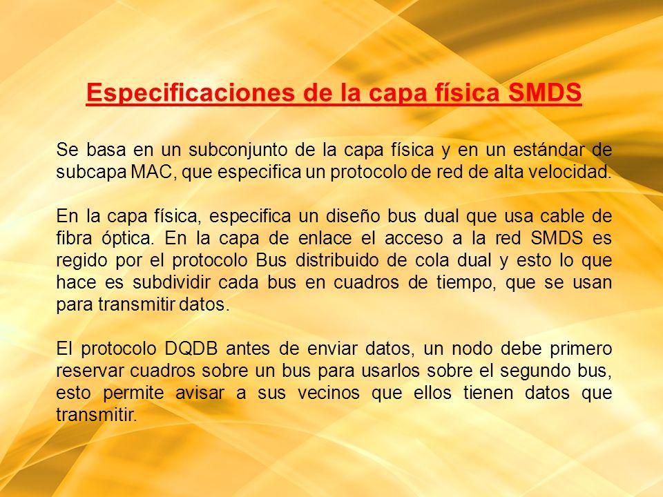 Especificaciones de la capa física SMDS Se basa en un subconjunto de la capa física y en un estándar de subcapa MAC, que especifica un protocolo de re