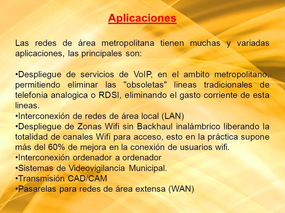 Aplicaciones Las redes de área metropolitana tienen muchas y variadas aplicaciones, las principales son: Despliegue de servicios de VoIP, en el ambito